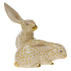 Herend Porcelain Fishnet Figurine of a Pair of Rabbits (Large)